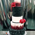 candy bar białystok czarno-srebrny - tort czarno-biało-czerwony