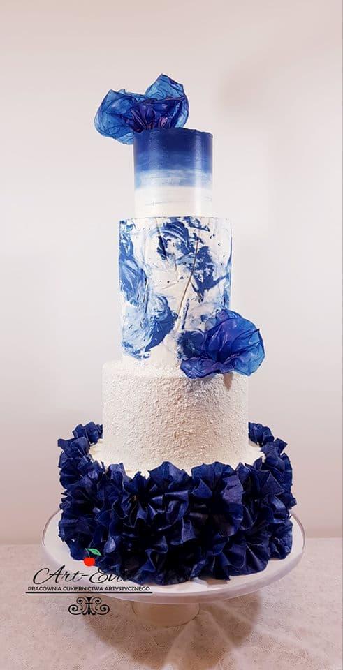 szkolenia cukiernicze - tort weselny biało-niebieski