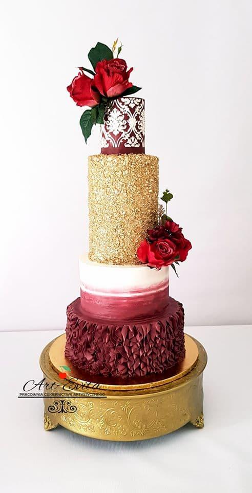 szkolenia cukiernicze - tort weseny złoto-biało-bordowy