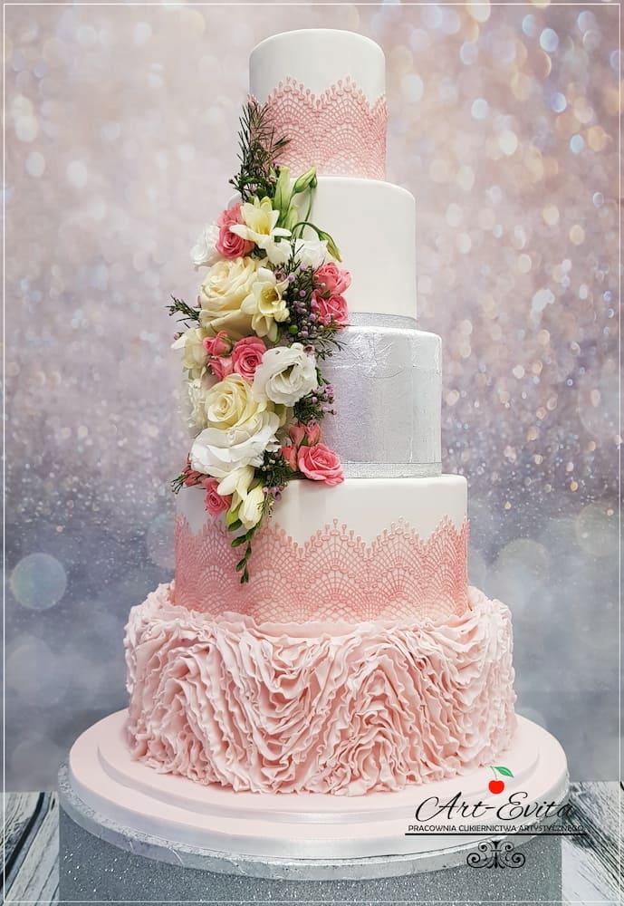 torty weselne białystok - różowy