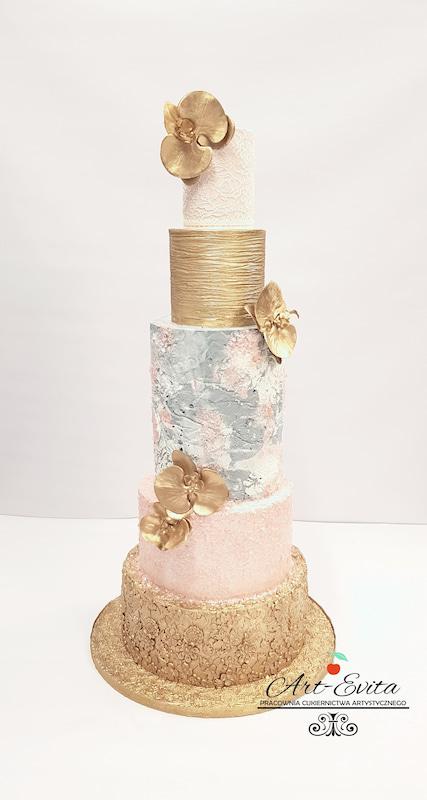 torty bialystok - weselny złoty różowy szary