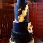 torty bialystok - weselny niebiesko-czarno-złoty