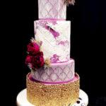 torty bialystok - weselny złoto-biało-fioletowy