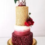 torty bialystok - weselny czerwono-biało-złoty