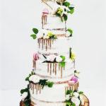 torty bialystok - weselny naked z kwiatami i topperem