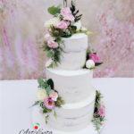 torty bialystok - weselny naked z kwiatami