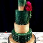 torty bialystok - weselny zielono-złoty