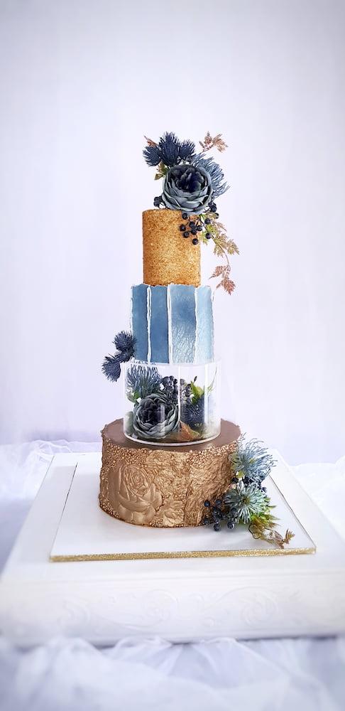 tort niebiesko-złoty z separatorem